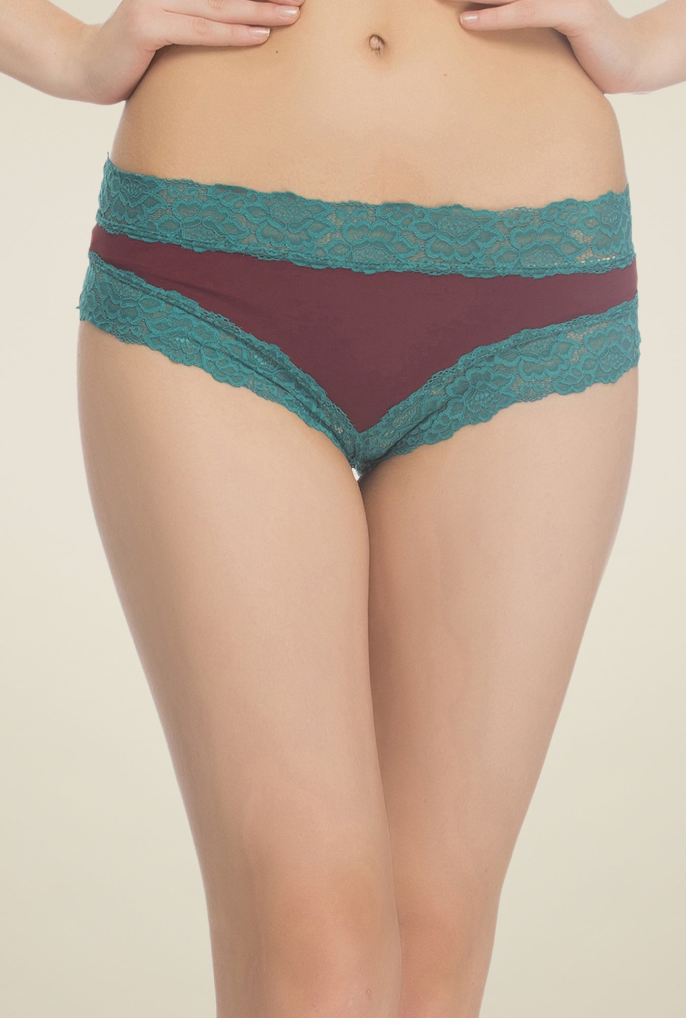 Clovia Maroon & Teal Lace Hipster Panty