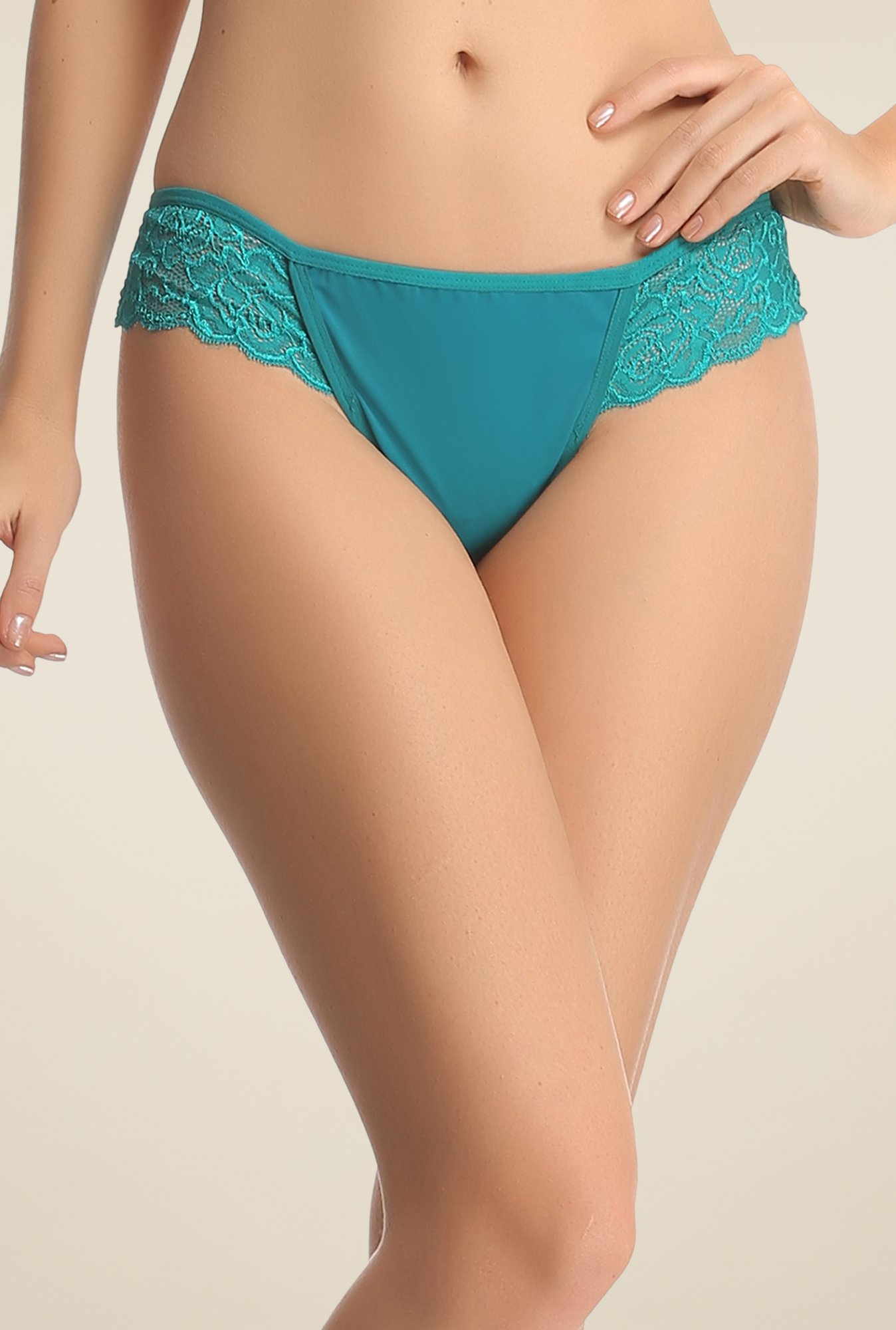 Clovia Teal Lace Brief