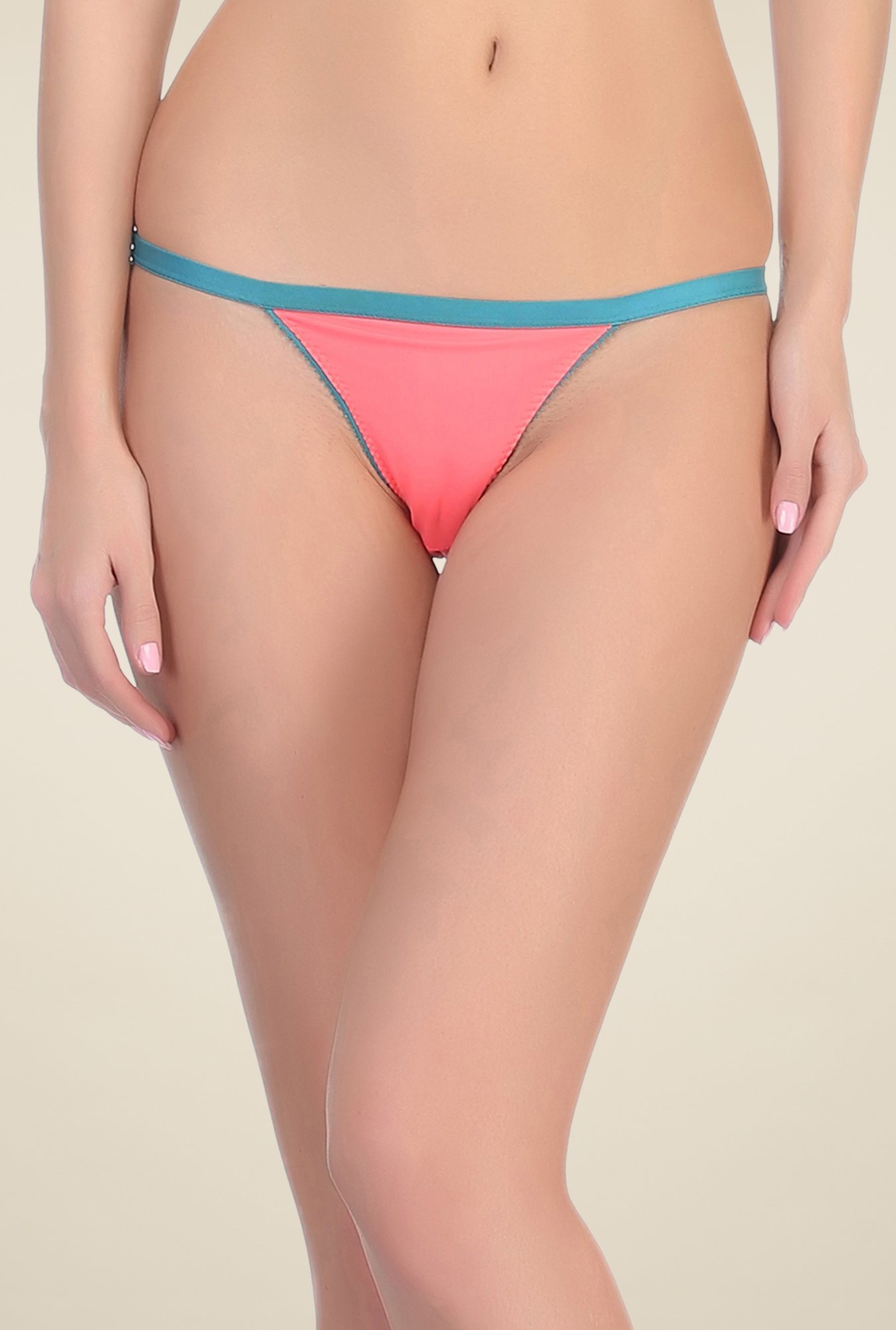 Clovia Peach & Teal Solid Thong Panty