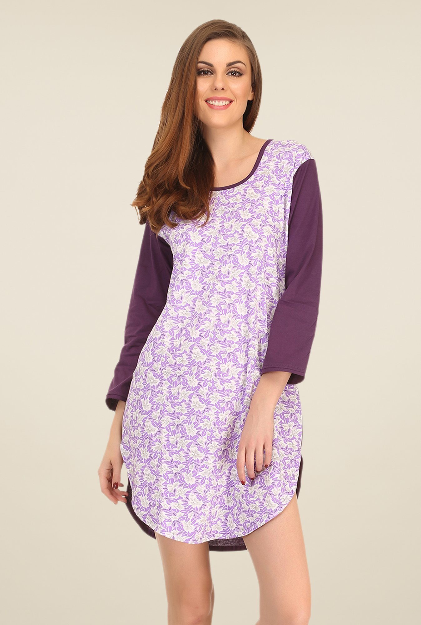 Clovia Purple & White Floral Print Nightdress