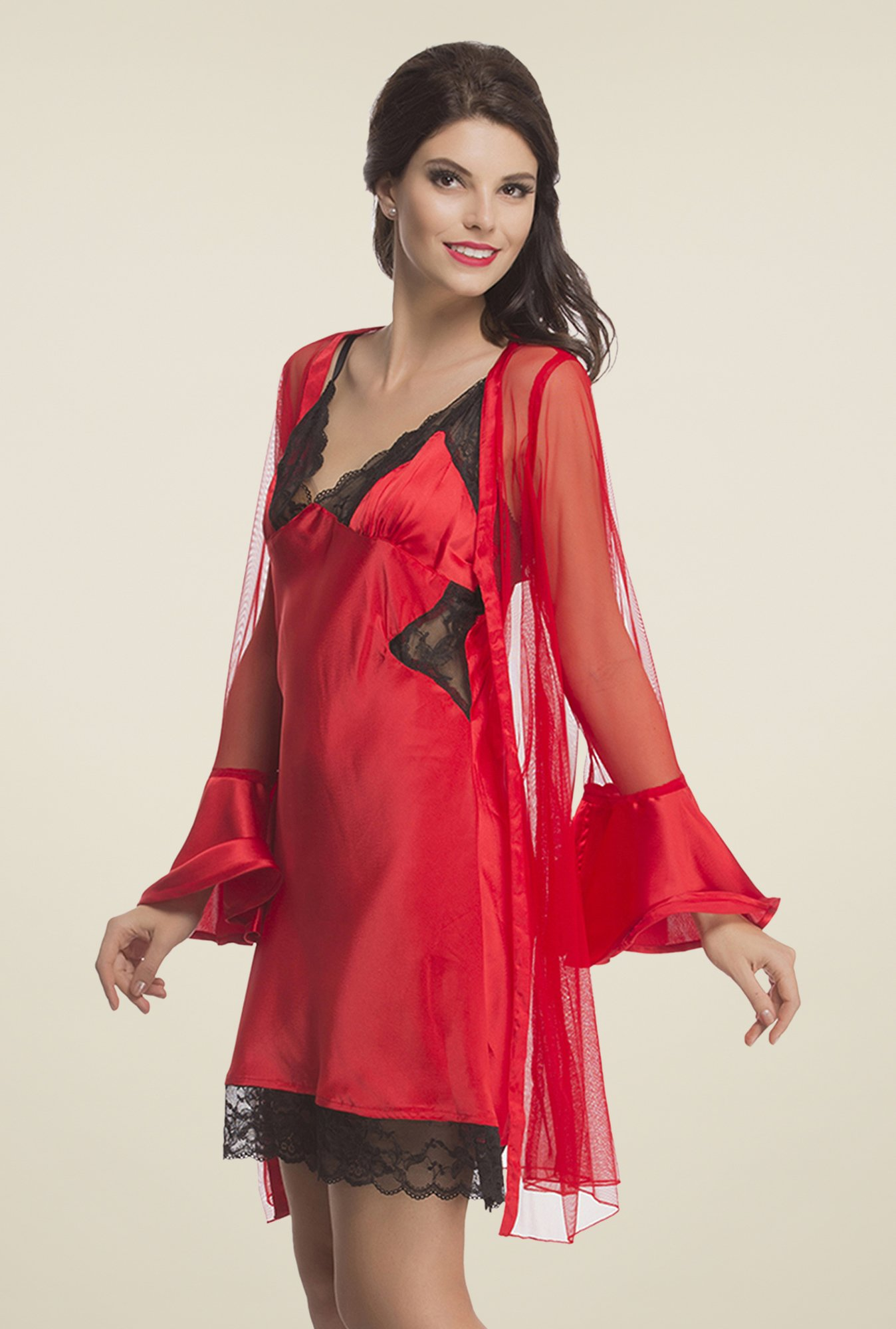 Clovia Red Lace Nightdress & Robe Set