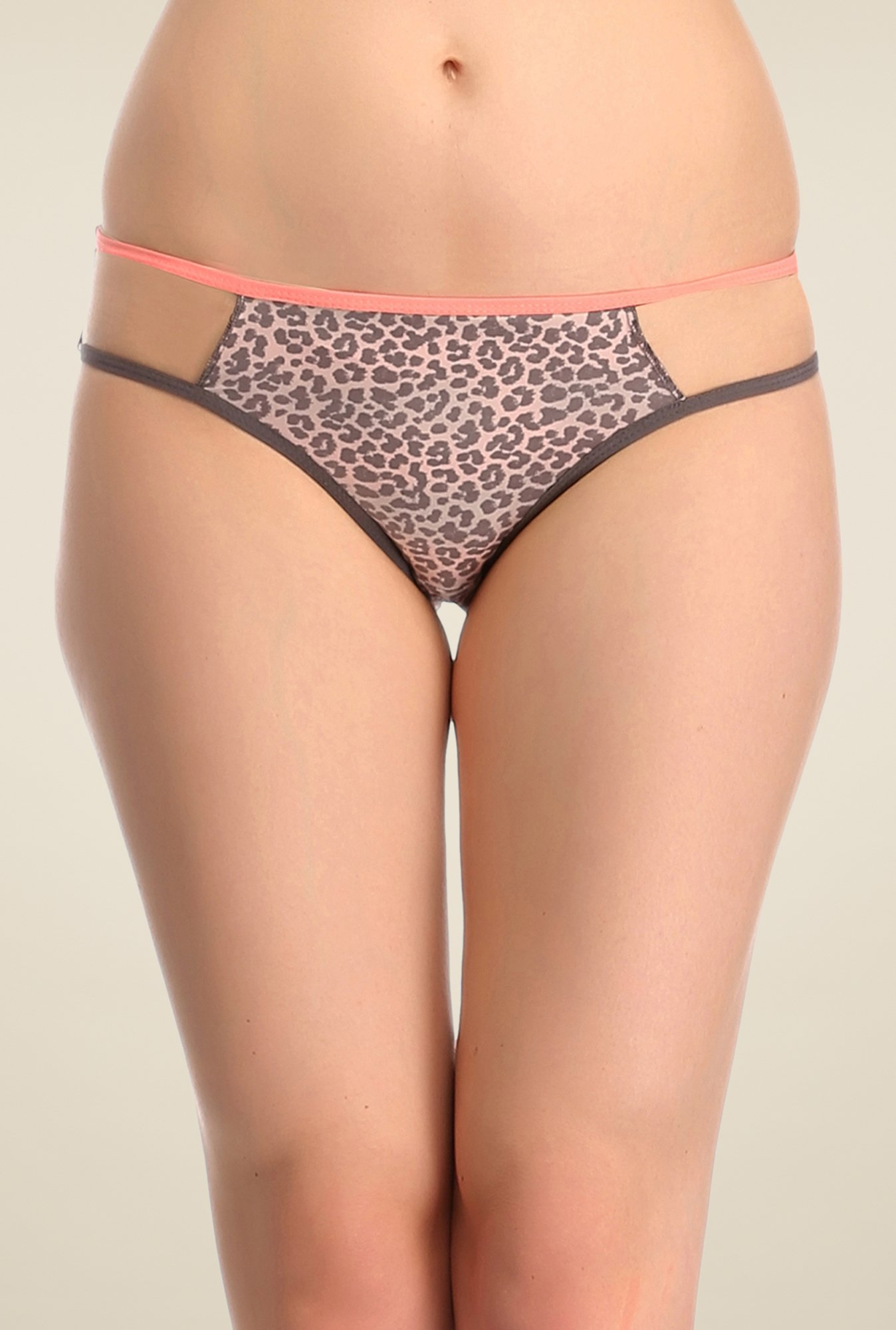 Clovia Grey Animal Print Bikini Panty