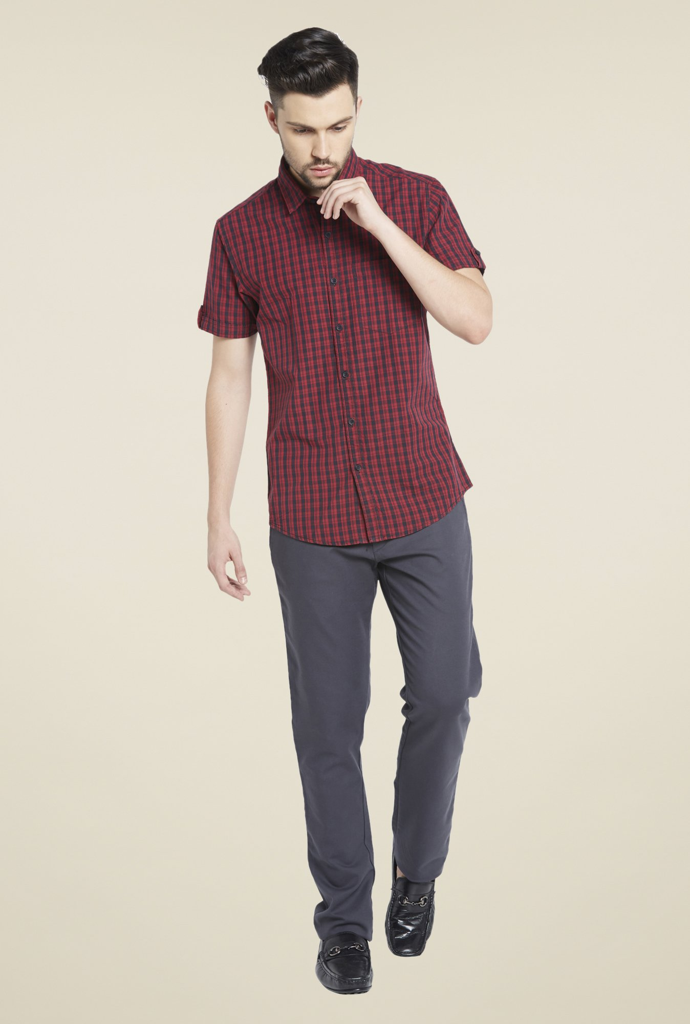 Globus Red & Black Checks Shirt