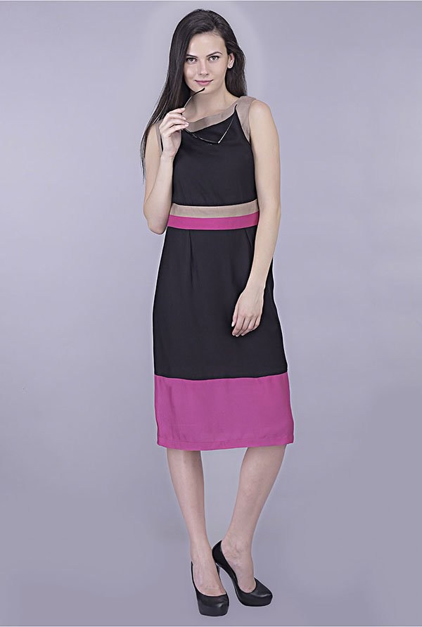 Kaaryah Black And Purple Solid Dress