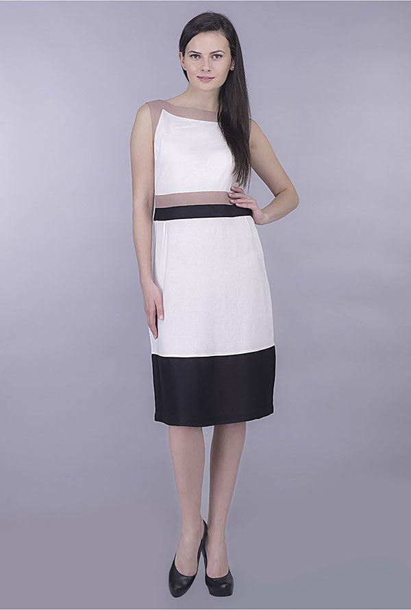 Kaaryah White and Black Solid Dress
