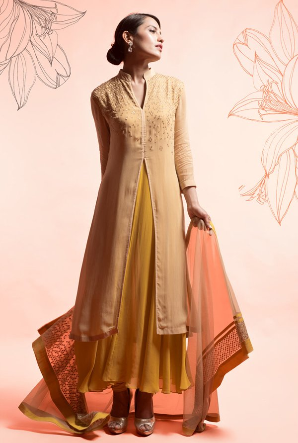 Satya Paul Beige & Yellow Embellished Georgette Suit Set