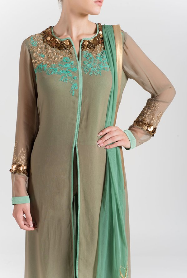 Satya Paul Grey & Green Embroidered Georgette Suit Set
