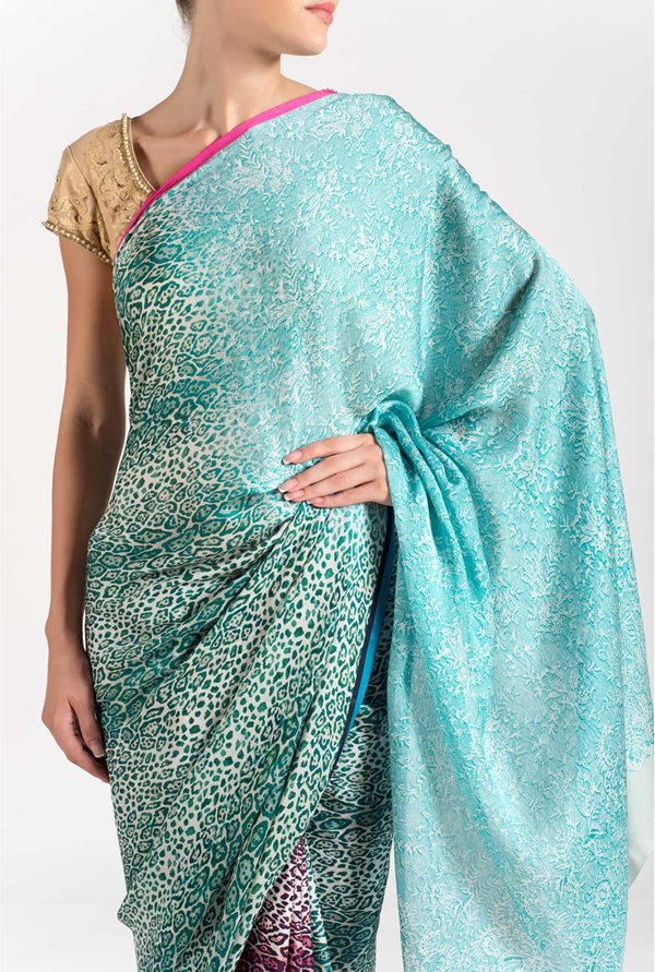 Satya Paul Sky Blue Georgette Saree