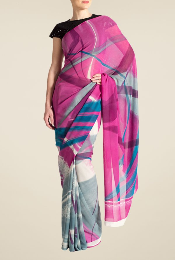 Satya Paul Pink Crepe Saree