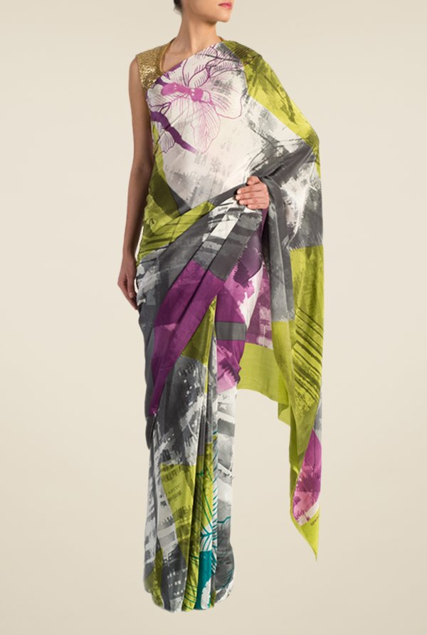 Satya Paul Grey & Lime Green Crepe Saree
