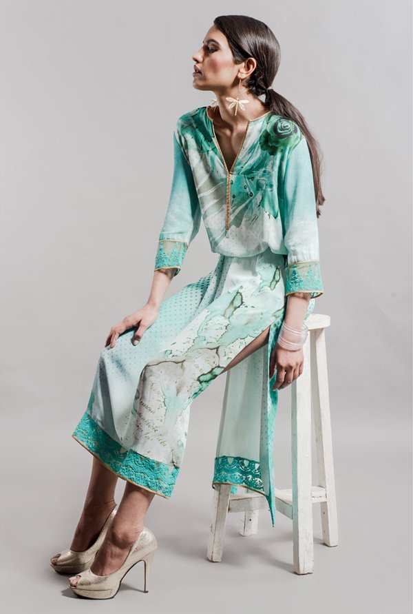 Satya Paul Green Printed Kurta
