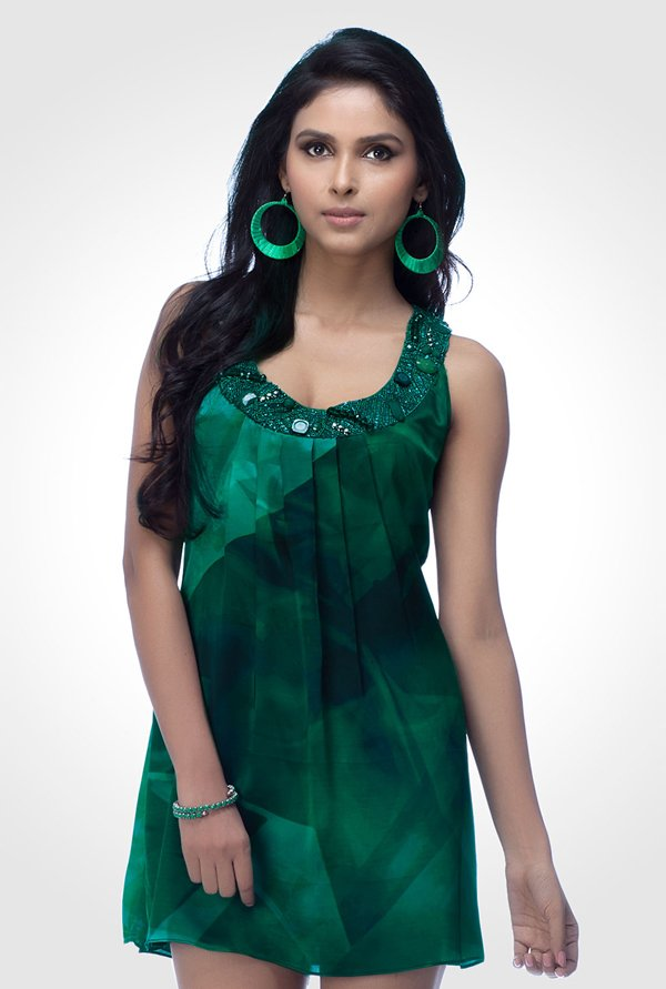 Satya Paul Green Embellished Satin Dress
