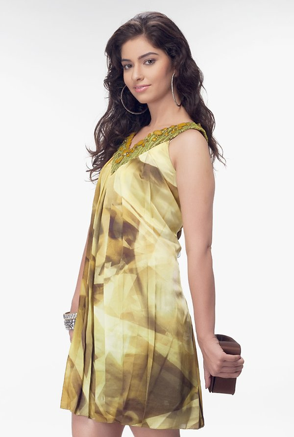 Satya Paul Yellow Embellished Satin Dress