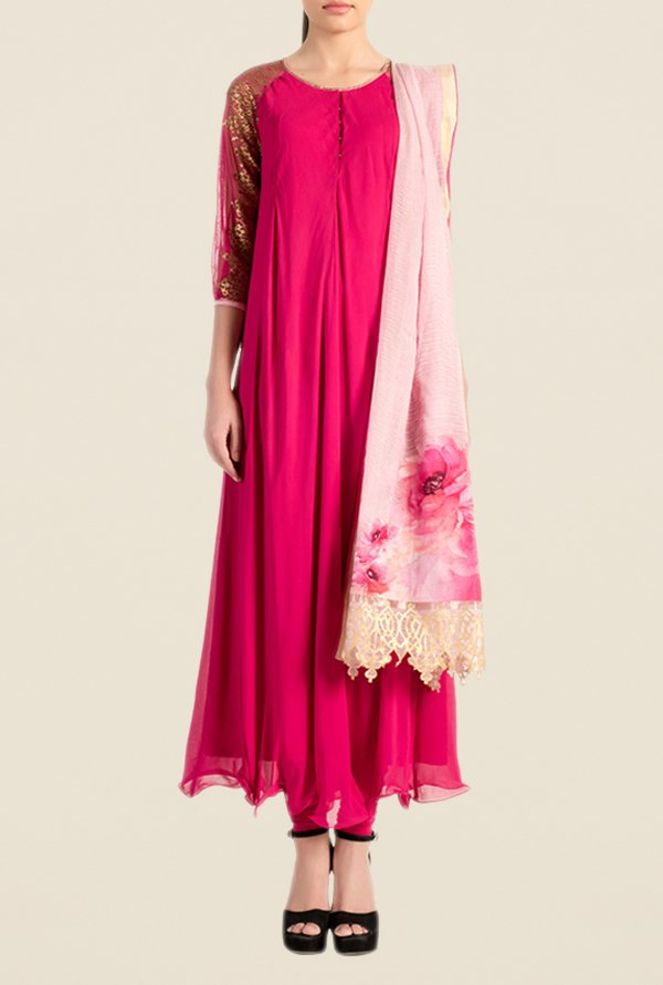 Satya Paul Pink Solid Georgette Suit Set