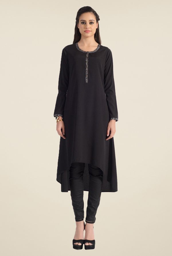 Satya Paul Black Solid Kurta - Club SP