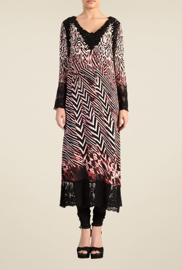 Satya Paul Black & Maroon Printed Kurta