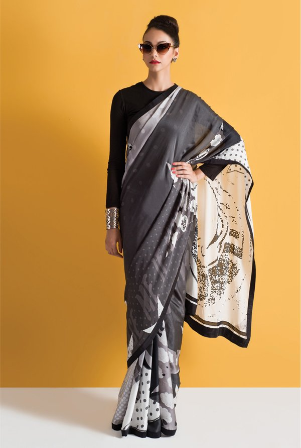 Satya Paul Grey & Black Georgette Saree
