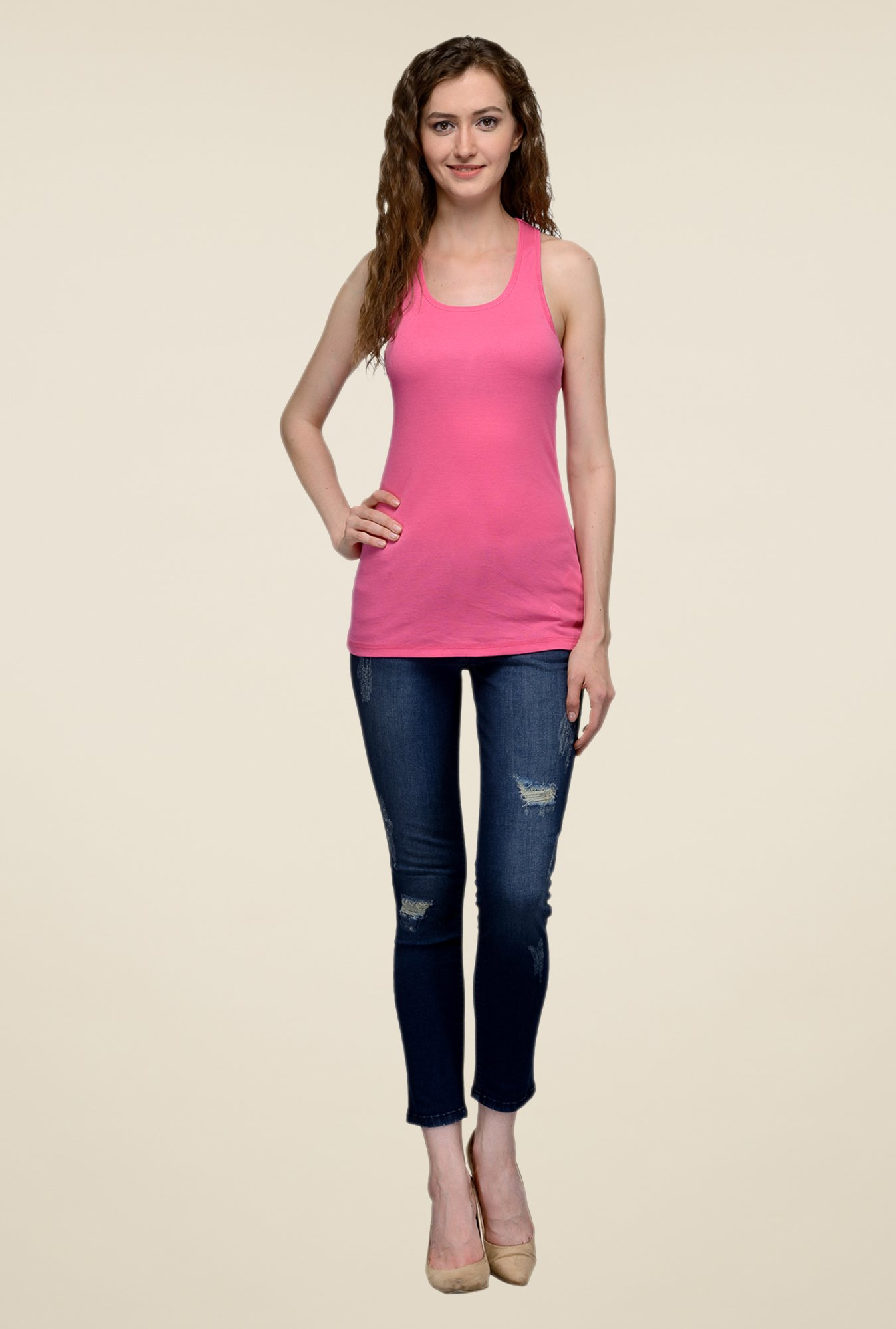 United Colors of Benetton Pink Solid Singlet