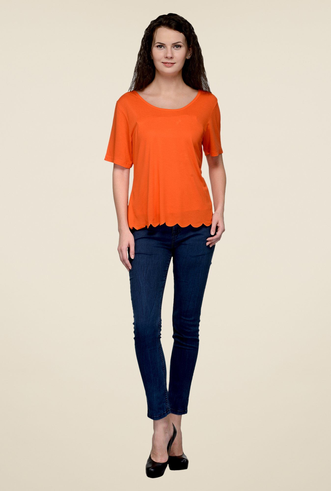 United Colors of Benetton Orange Solid Top
