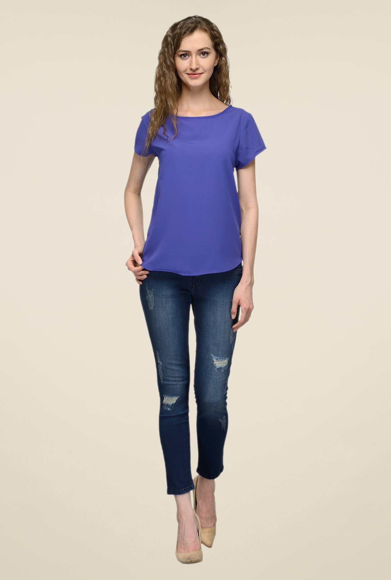 United Colors of Benetton Blue Solid Top