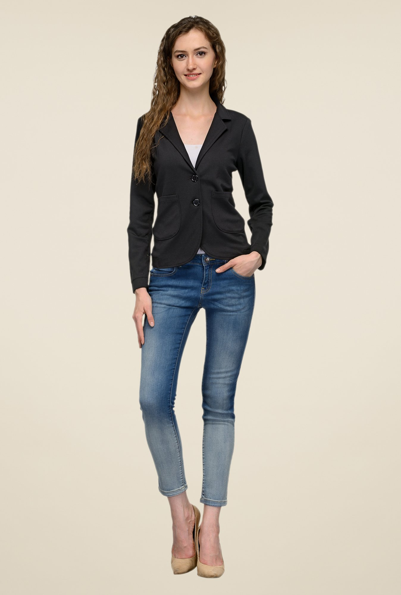 United Colors of Benetton Black Solid Blazer