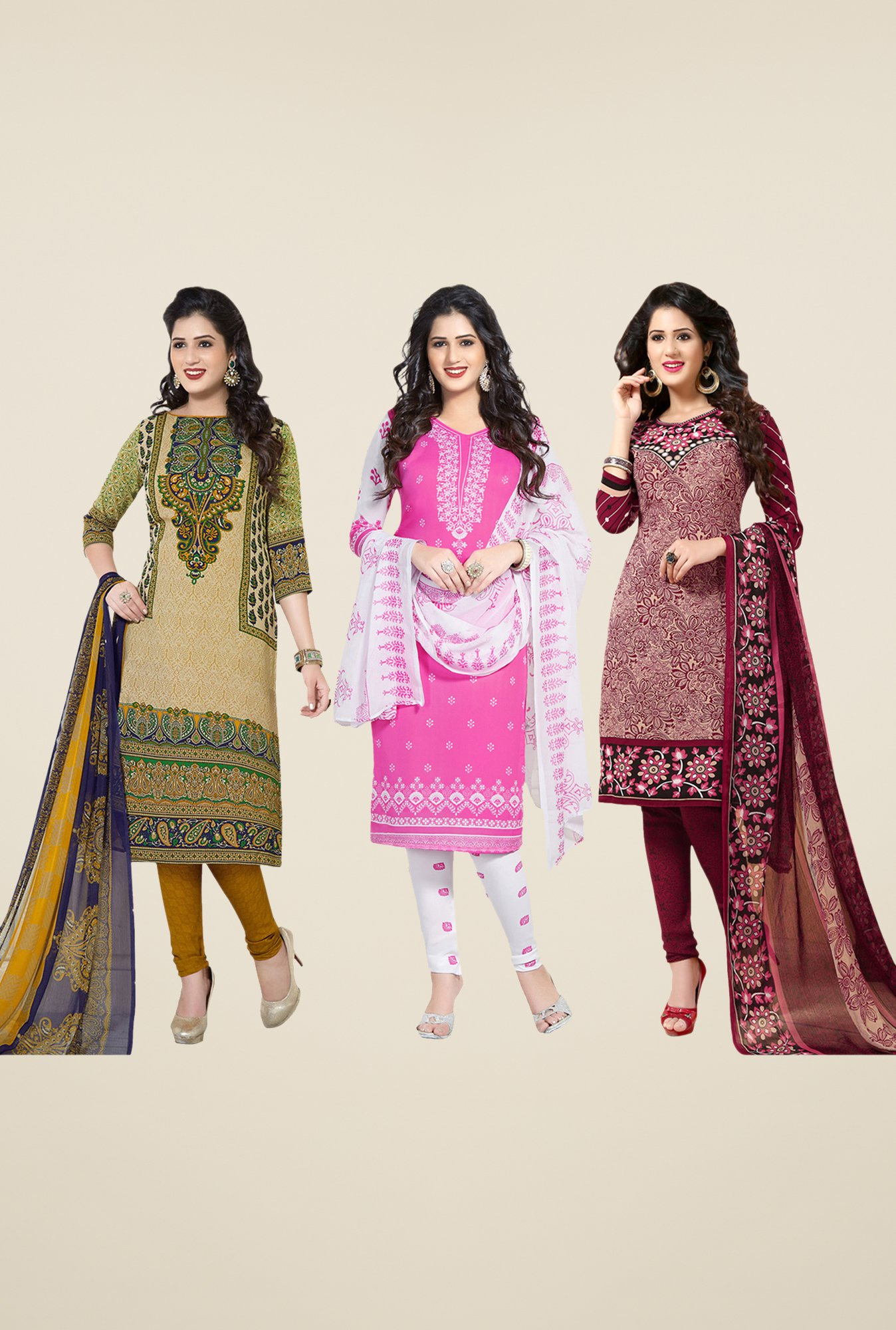 Salwar Studio Beige, Pink, Maroon Dress Material (Pack Of 3)