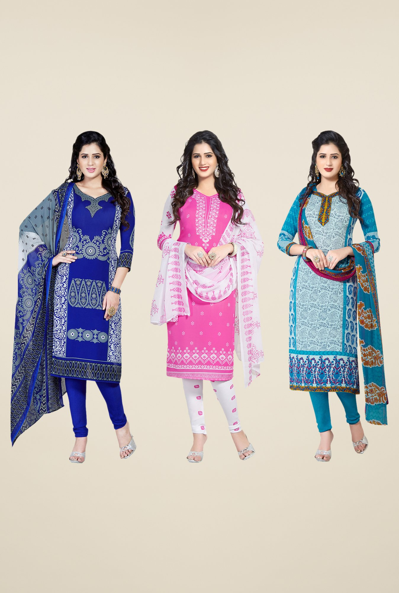 Salwar Studio Blue, Pink & Teal Dress Material (Pack Of 3)