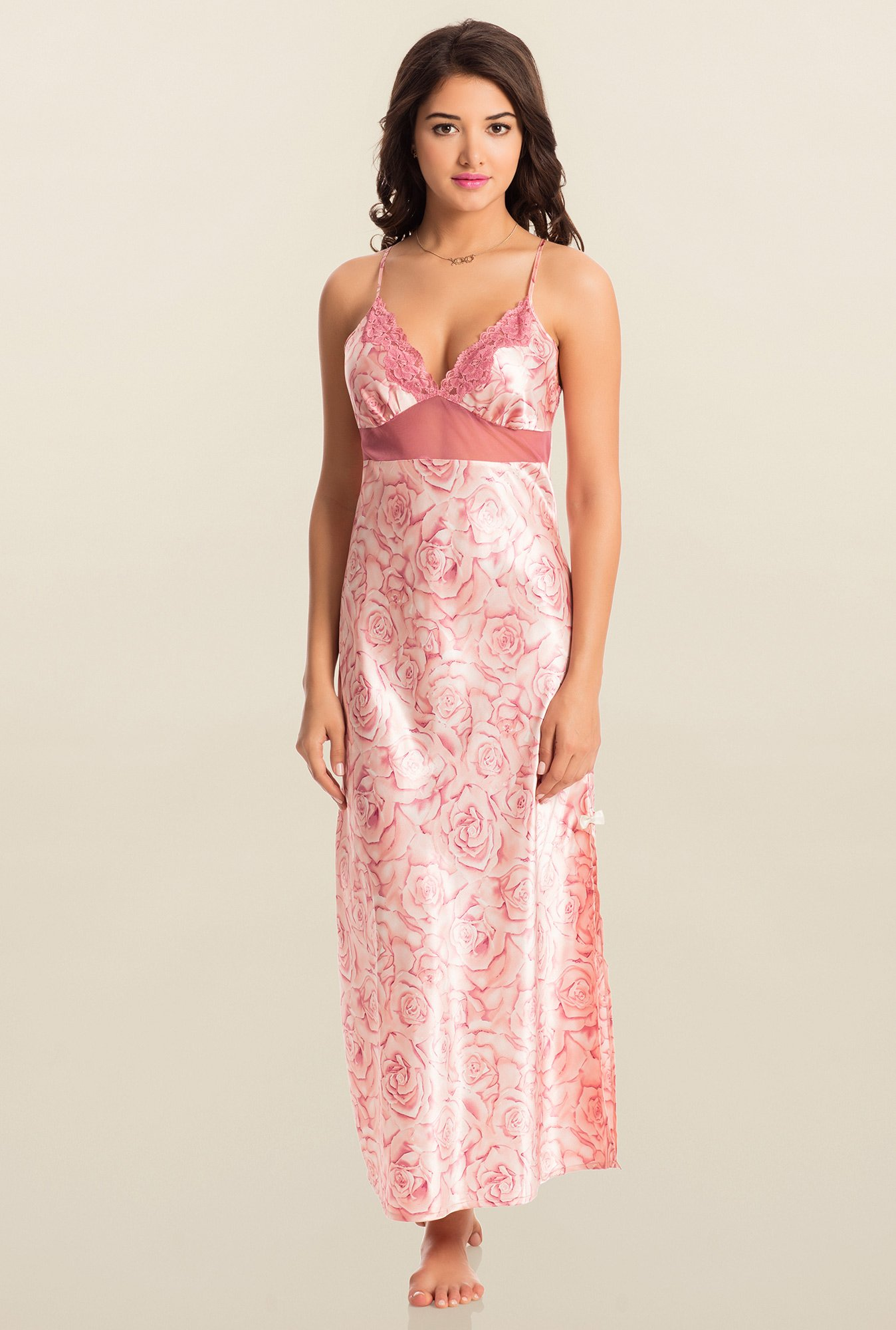 PrettySecrets Pink Midnight Spell Lacy Long Nightdress