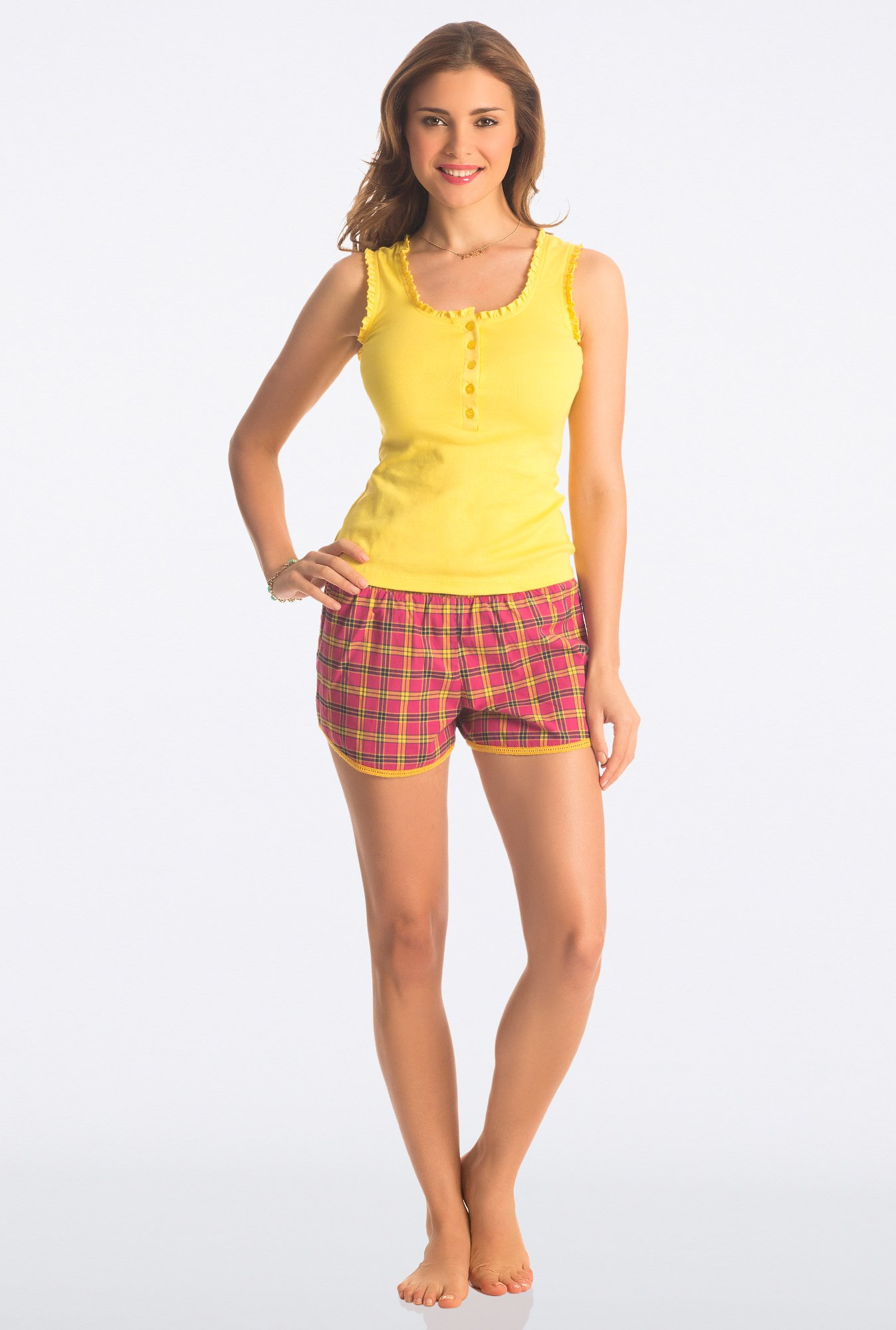 PrettySecrets Fuchsia & Yellow Flirty Checks Shorts