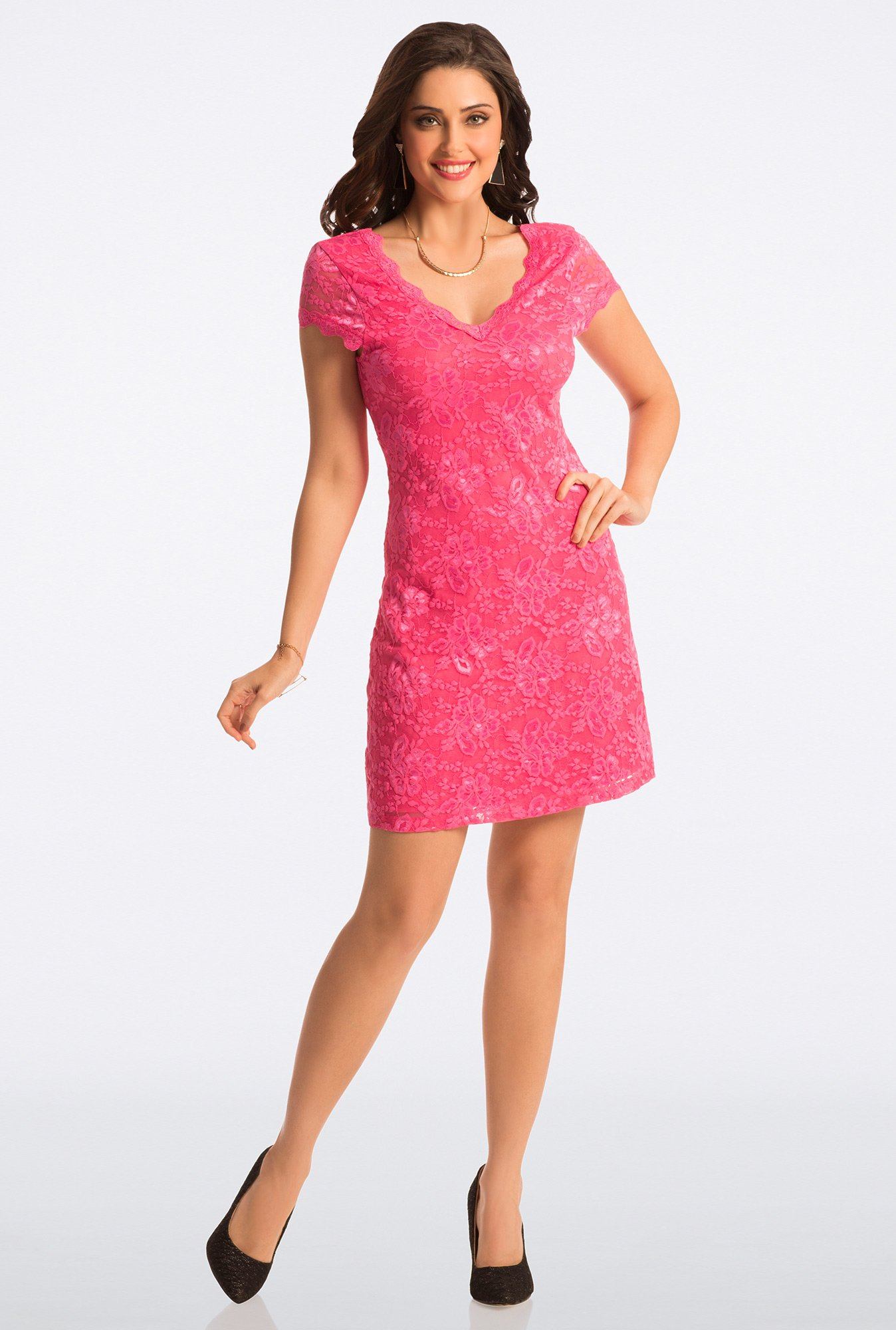 PrettySecrets Candy Pink Lace Bodycon Dress