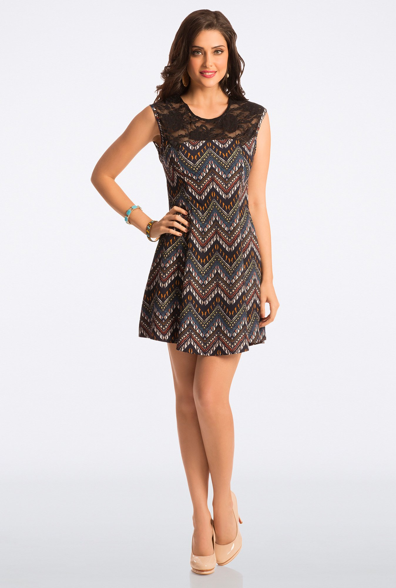 PrettySecrets Multicolor Geometric Print Lace Skater Dress