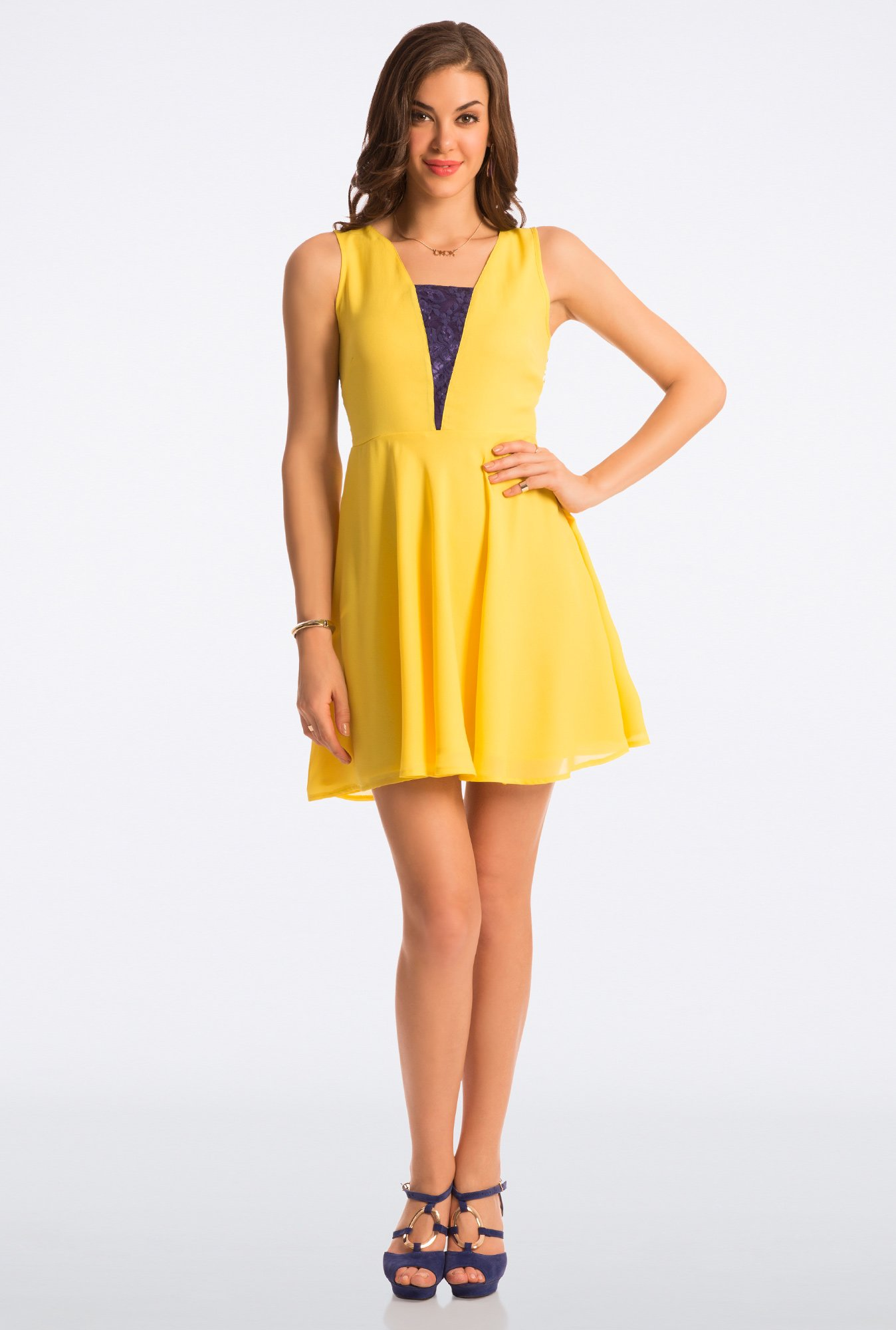 PrettySecrets Blazing Yellow Abiding Adorable Lace Dress