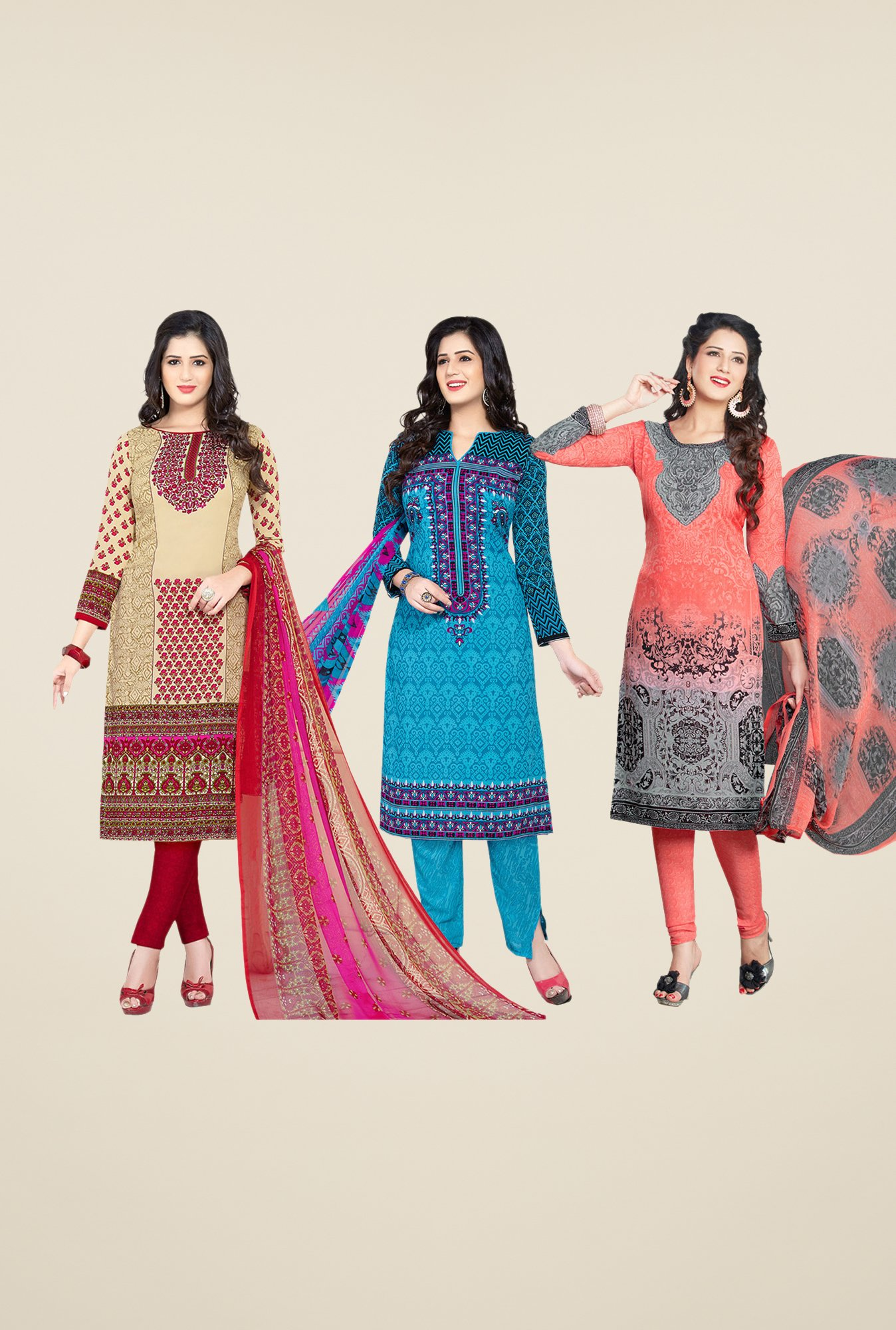 Salwar Studio Beige, Blue & Peach Dress Material (Pack Of 3)