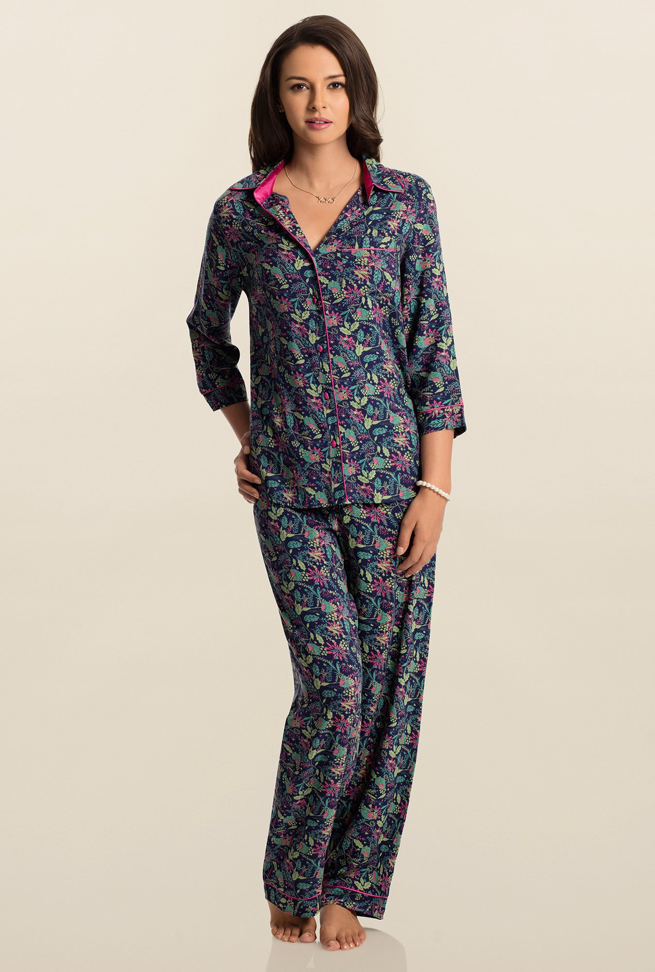 PrettySecrets Navy Midnighter Snuggle Up Top & Pyjama Set