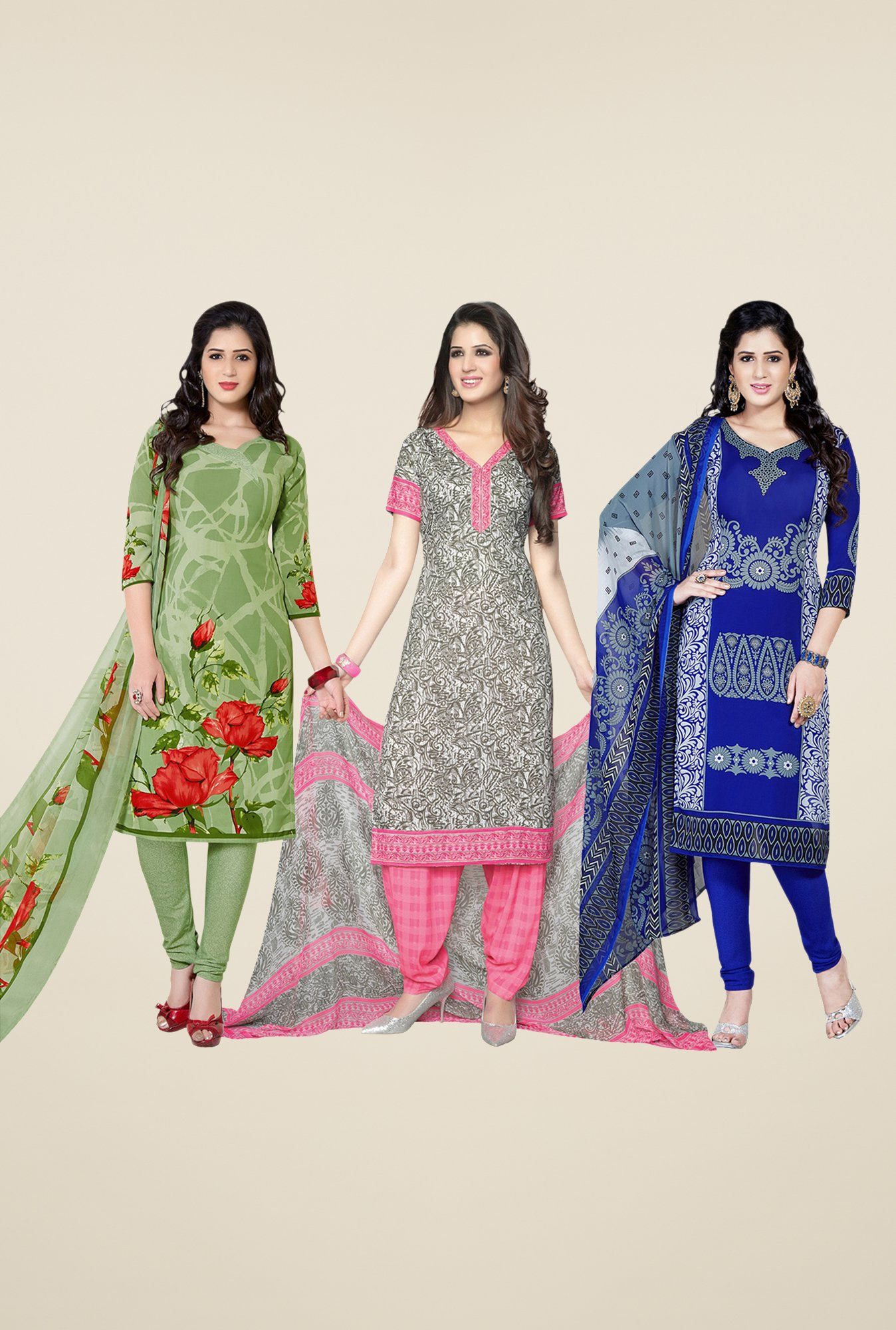 Salwar Studio Green, Grey & Blue Dress Material (Pack Of 3)