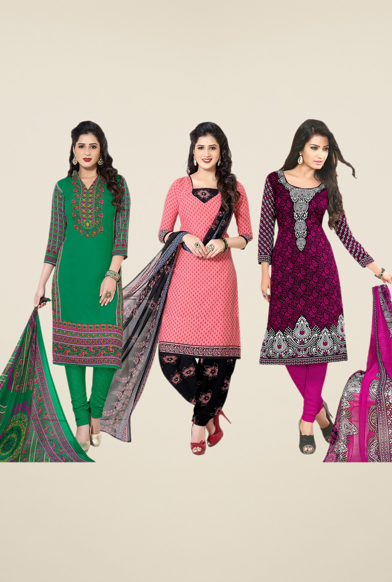 Salwar Studio Green, Peach, Purple Dress Material(Pack Of 3)