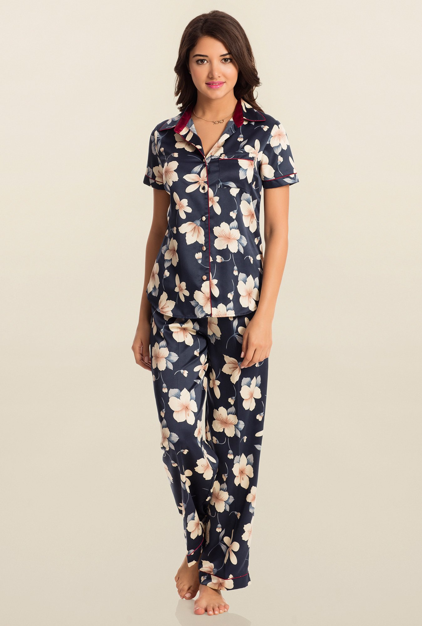 PrettySecrets Navy Blossom Midnight Spell Top & Pyjama Set