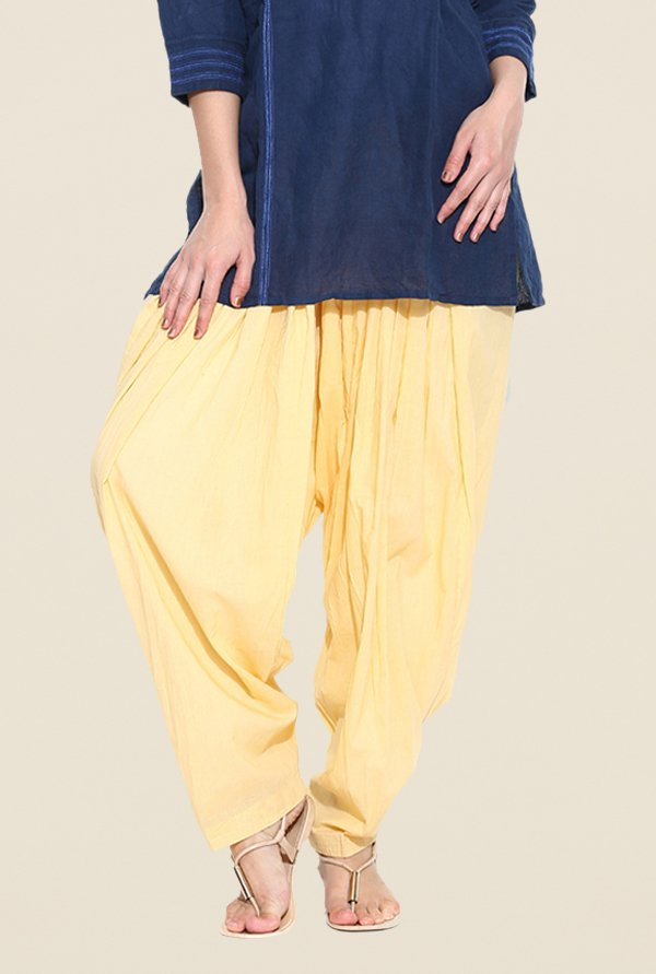 Stylenmart Light Yellow Solid Patiala Pants