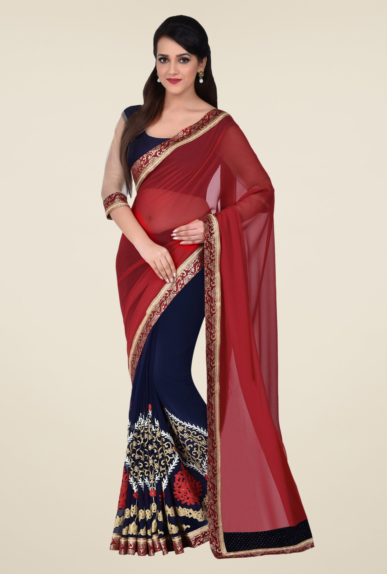 Shonaya Navy & Red Georgette Saree