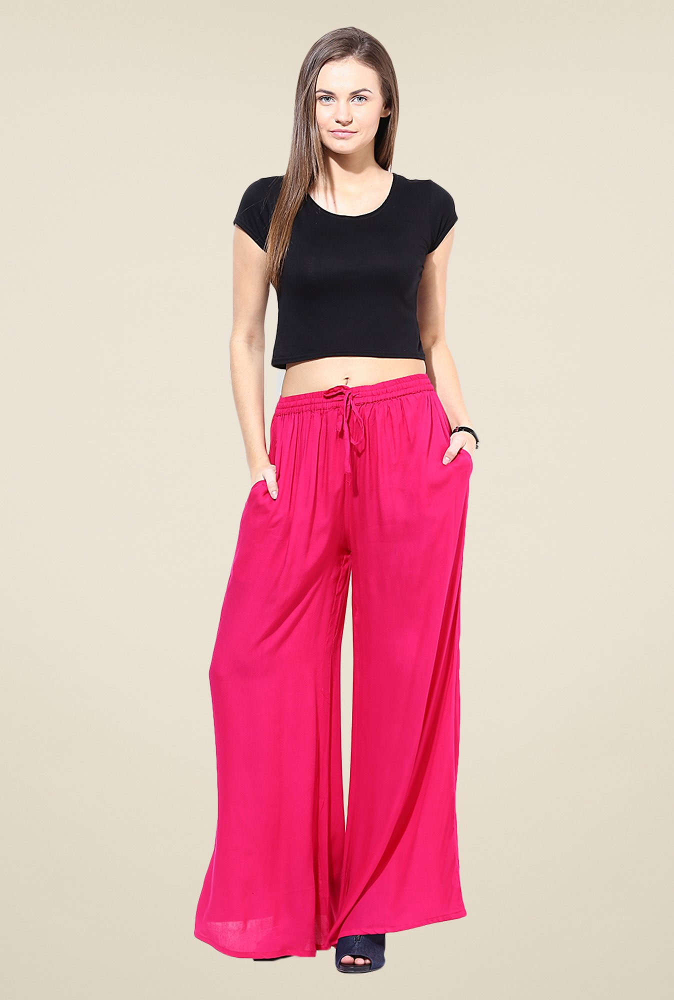Stylenmart Pink Solid Palazzos