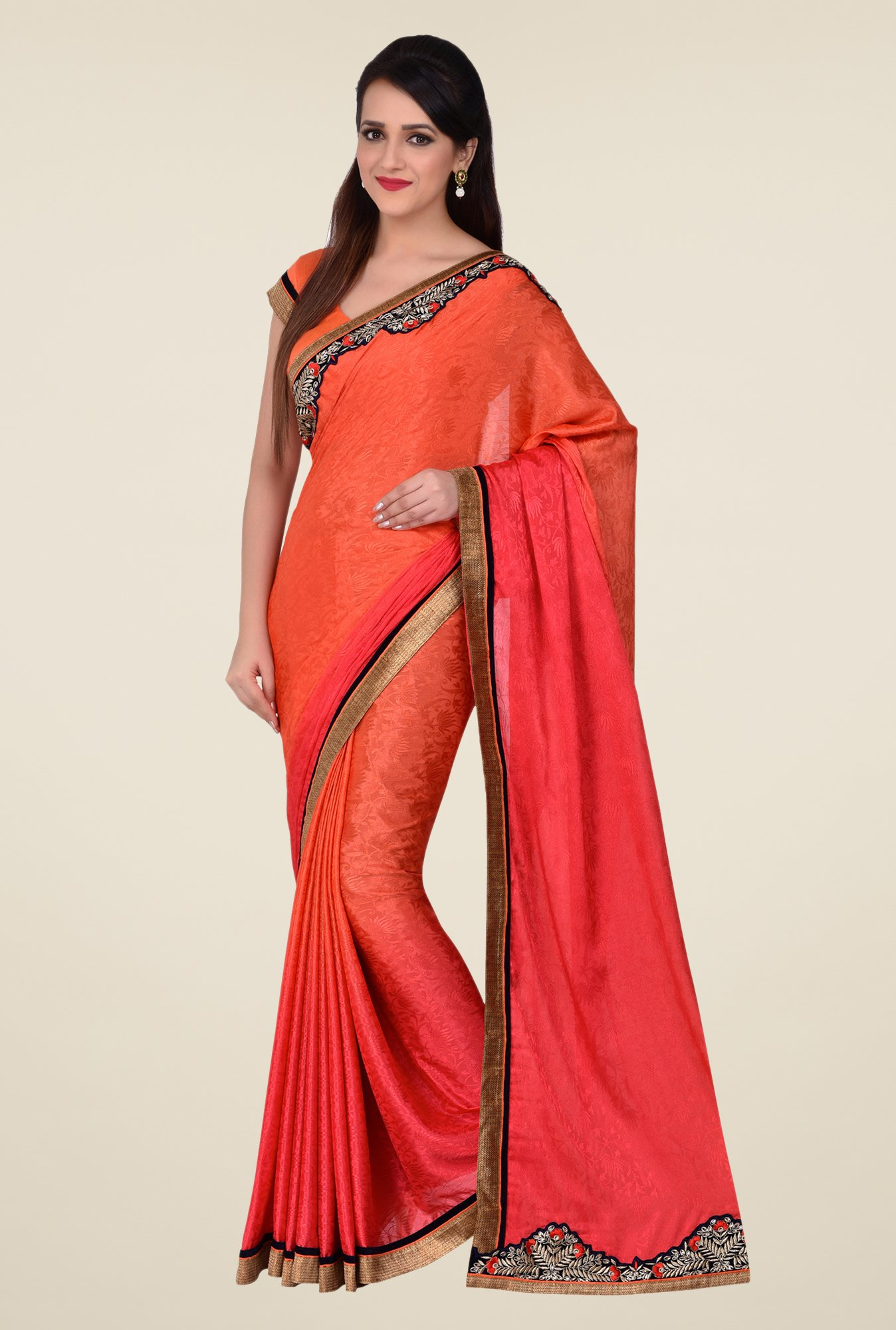 Shonaya Orange & Red Silk Jacquard Saree