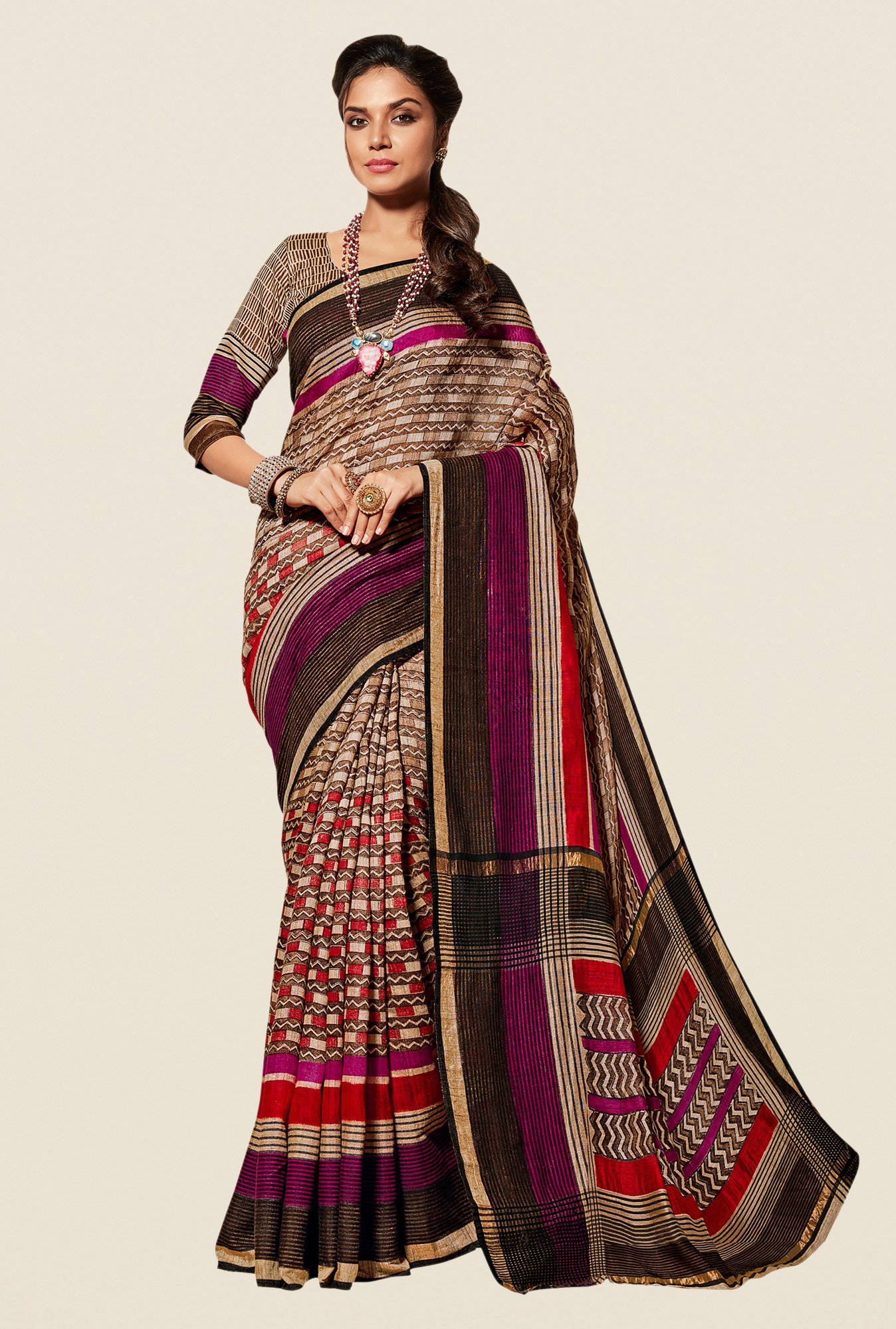 Shonaya Multicolor Cotton Silk Printed Free Size Saree