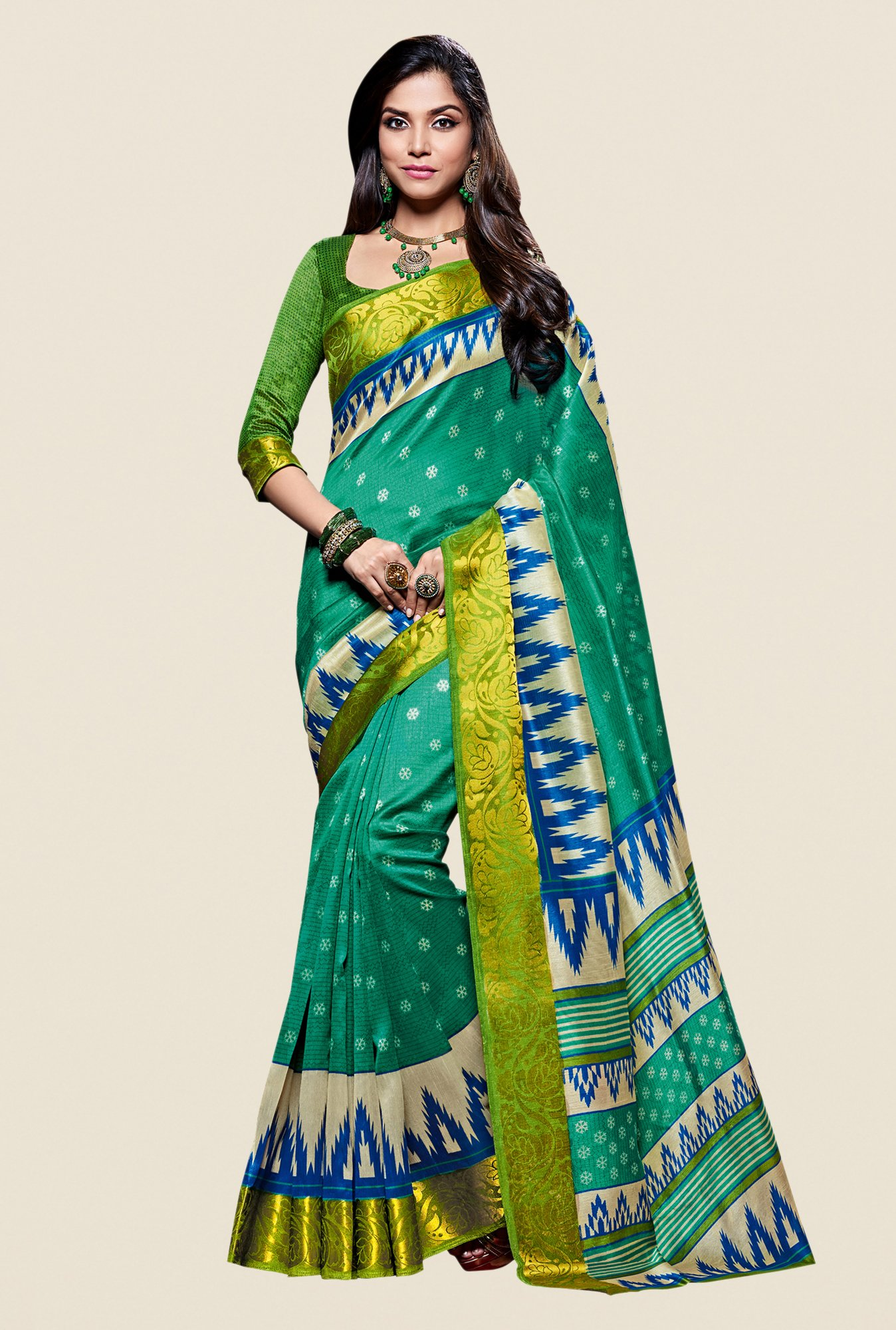 Shonaya Green Kanjivaram Art Silk Saree