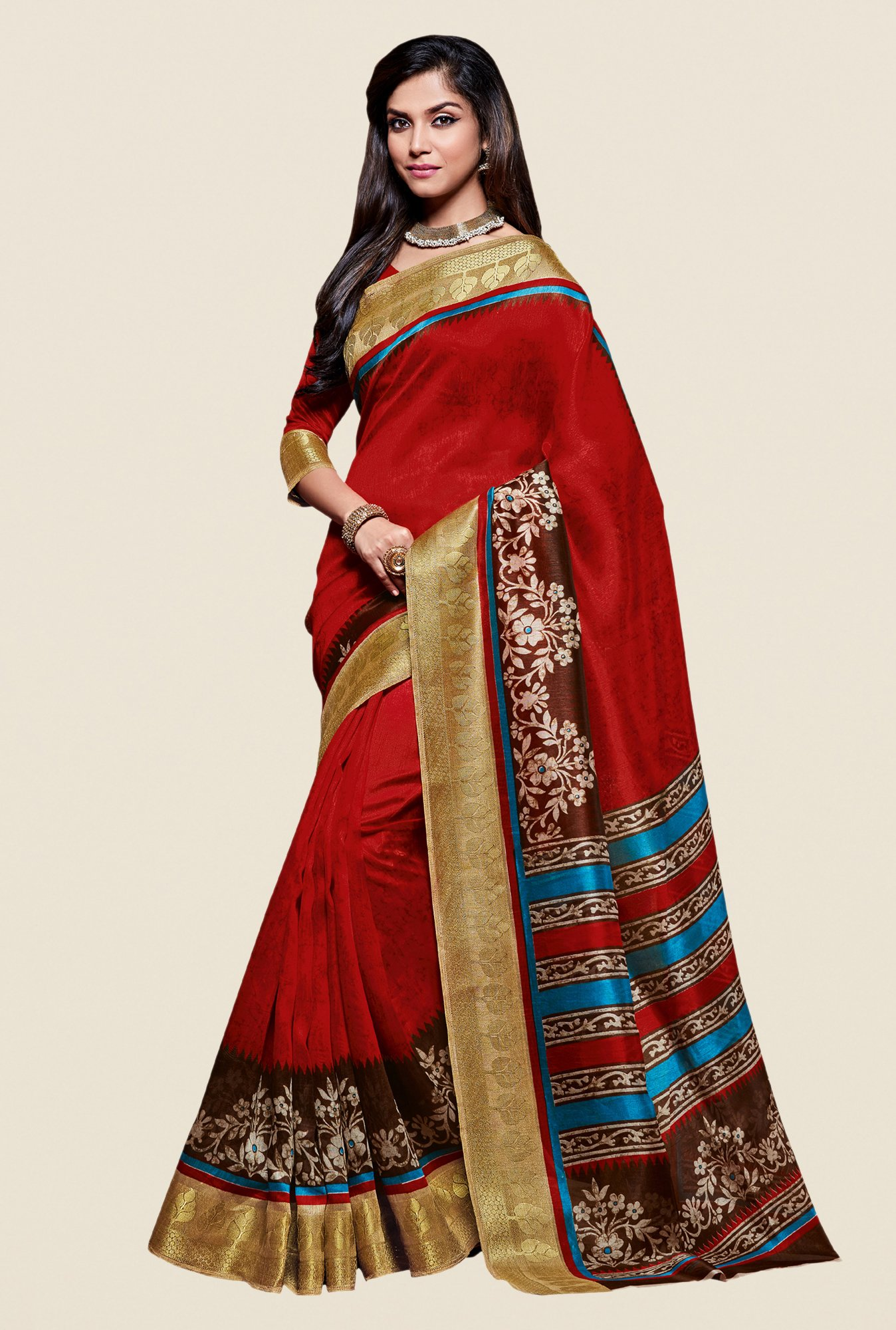 Shonaya Red Kanjivaram Art Silk Saree
