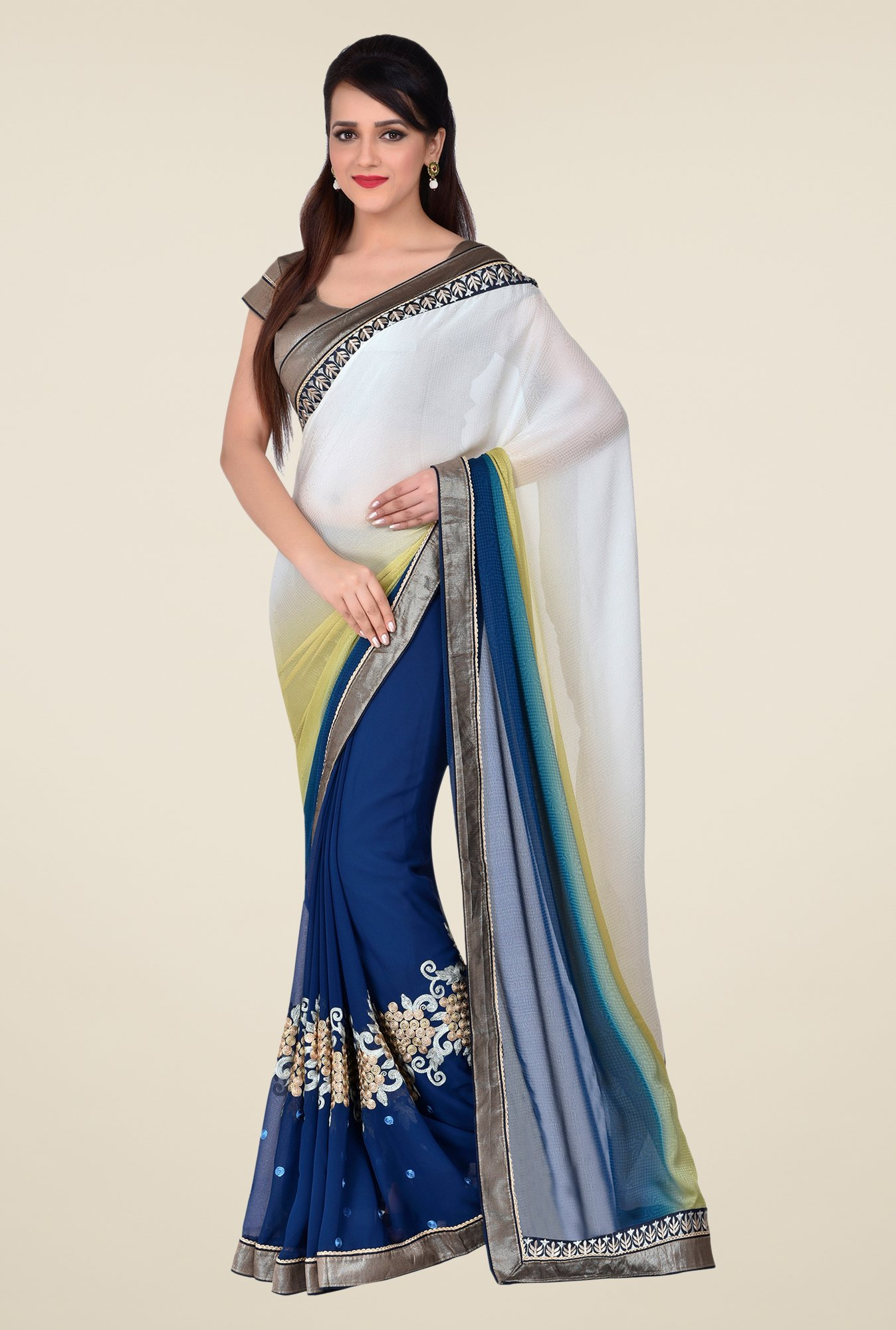 Shonaya Blue & White Georgette & Satin Saree