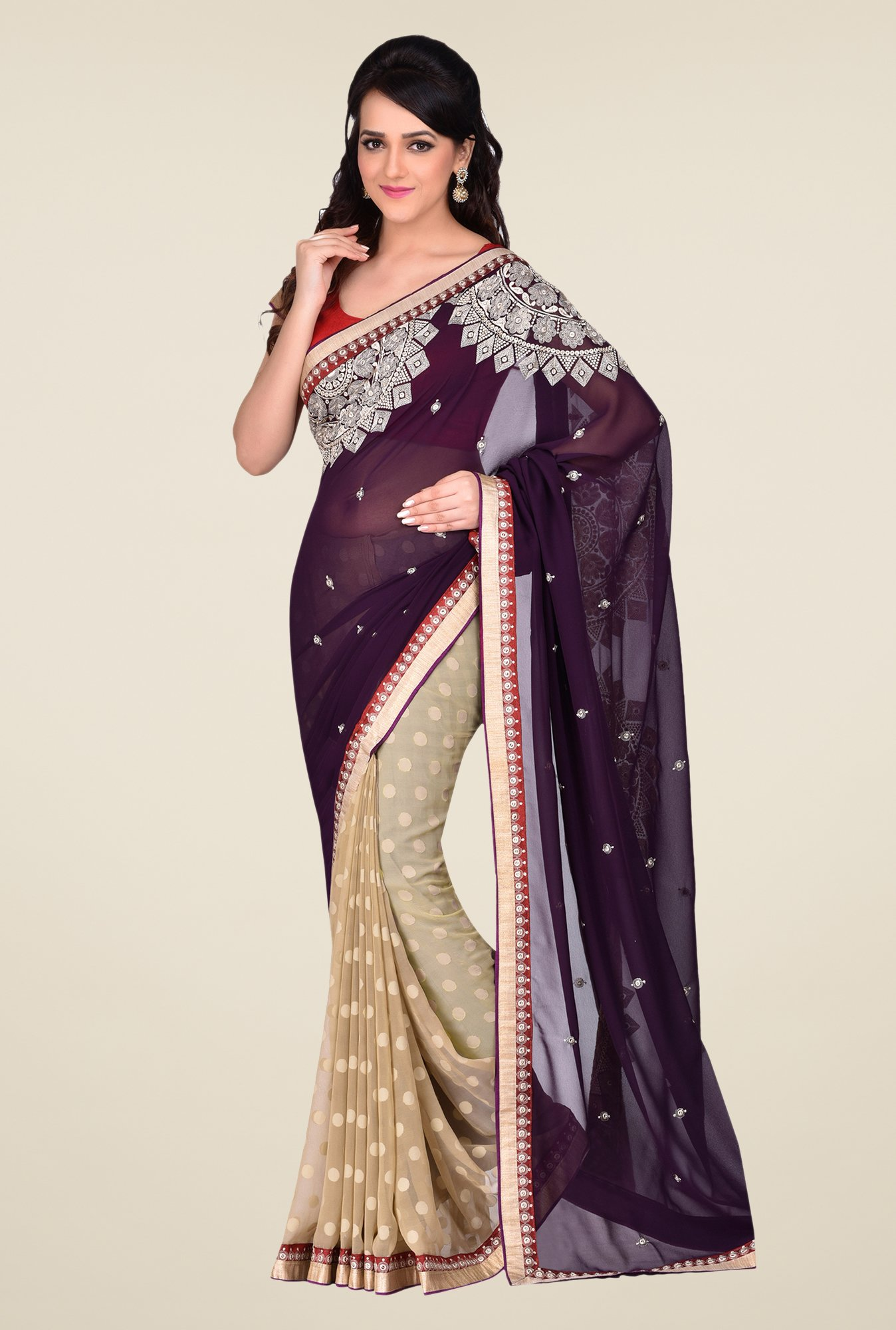 Shonaya Beige & Purple Georgette & Crepe Saree