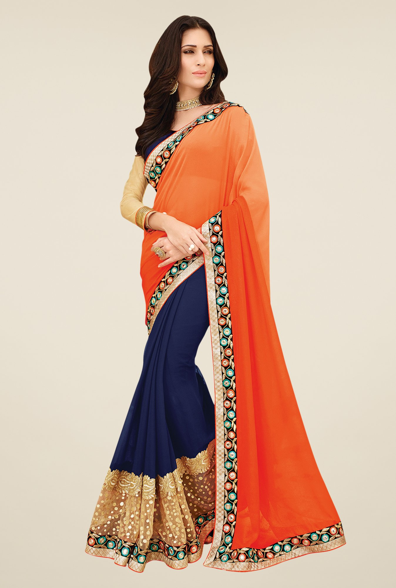 Shonaya Navy & Orange Georgette Saree