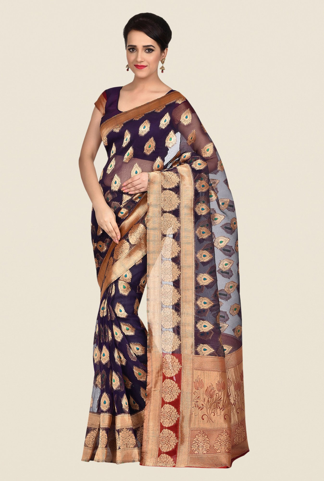 Shonaya Navy & Gold Banarasi Art Silk Saree