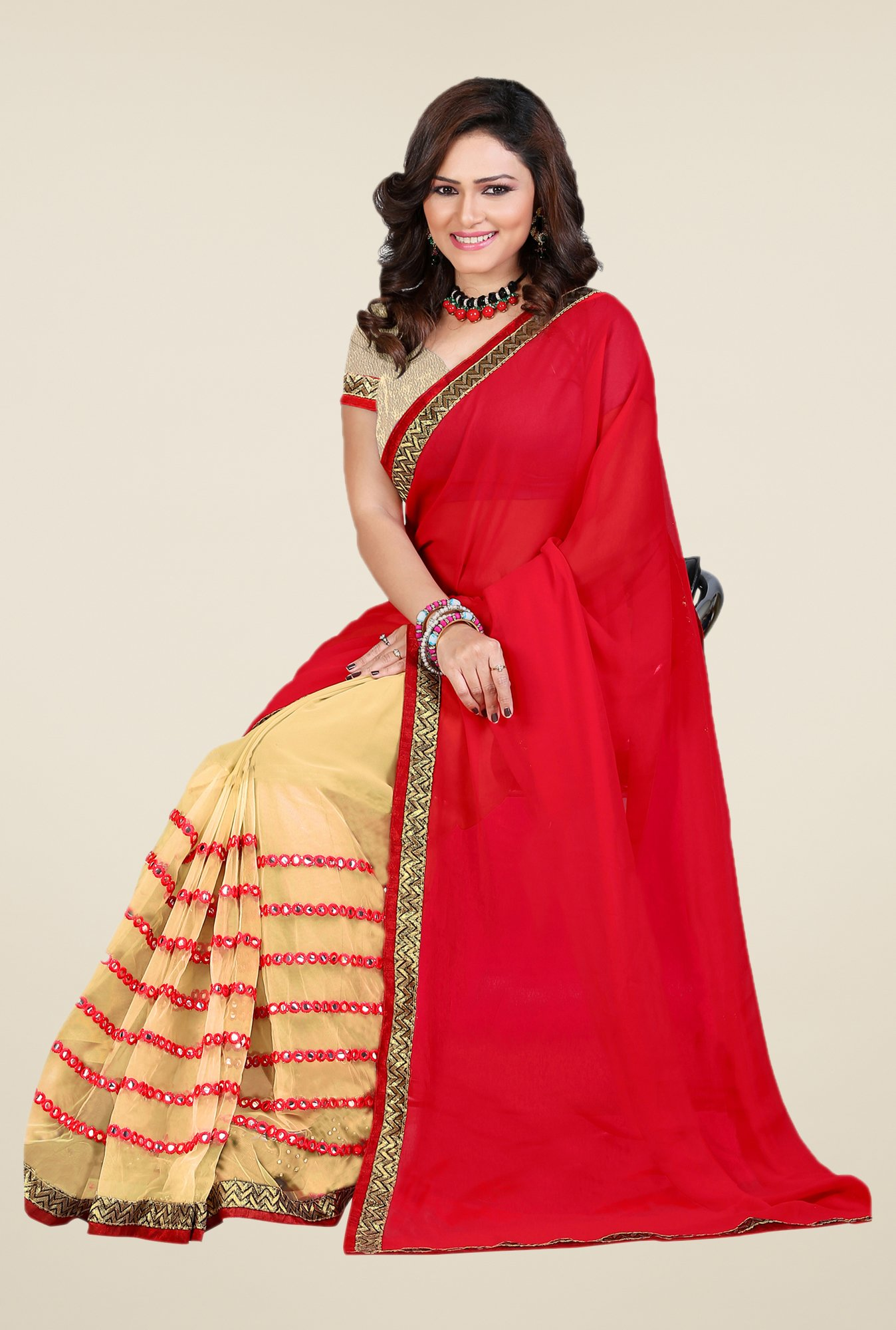 Shonaya Red & Beige Georgette & Net Saree
