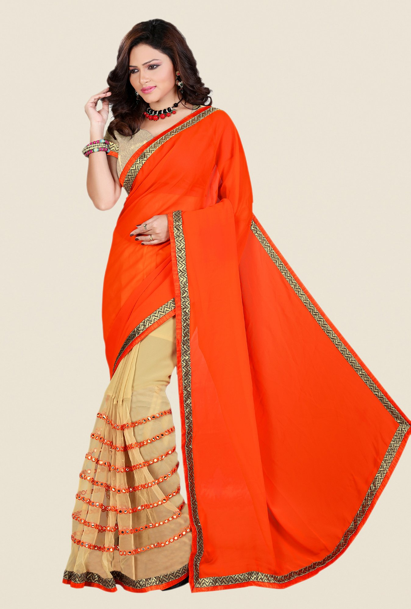 Shonaya Orange & Beige Georgette & Net Saree